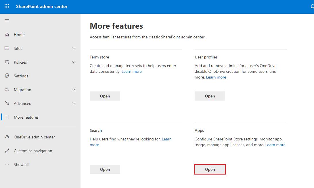 SharePoint Admin Center Features