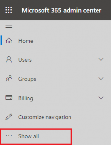 Office 365 Admin Center Menu