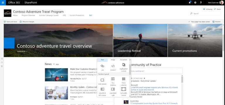 SharePoint Intranet Examples