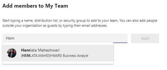 Add Members To MS Teams