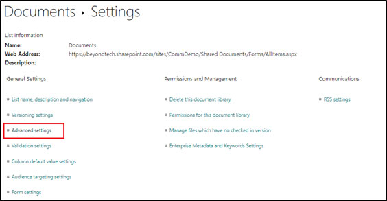 SharePoint Document Settings