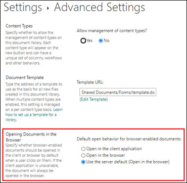 SharePoint Open Document Settings