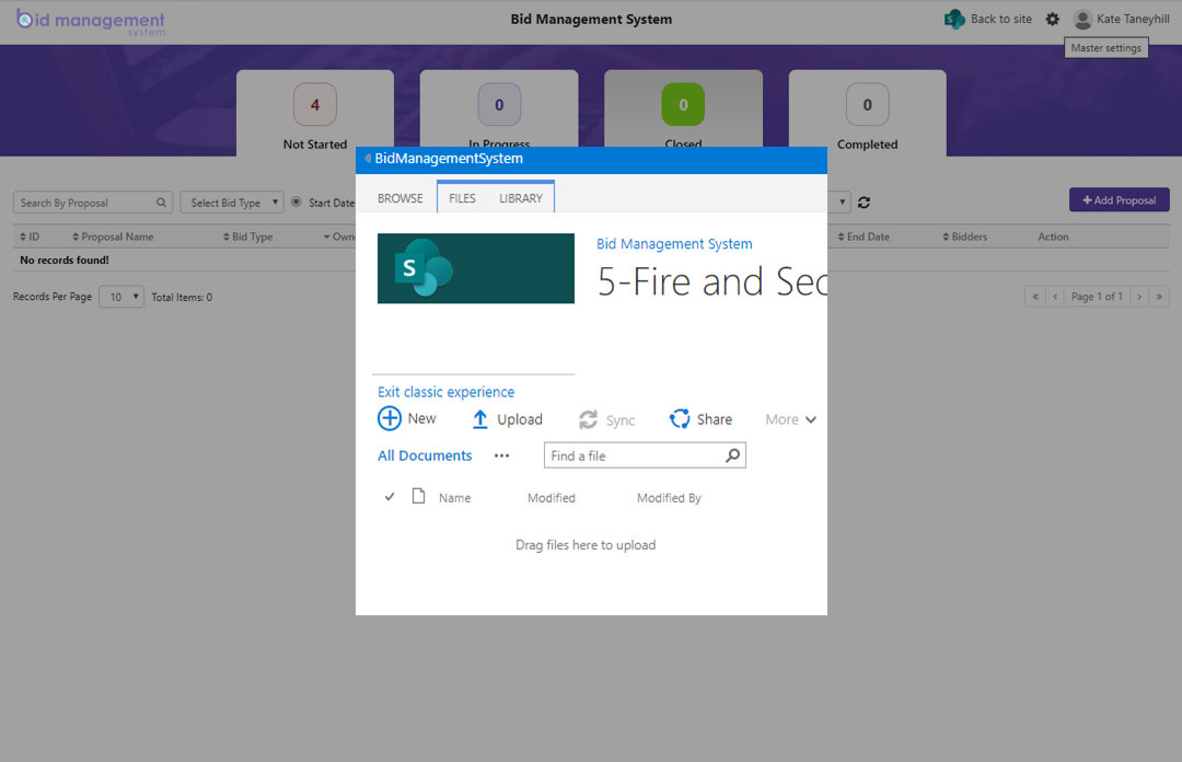 Bidders can Upload documents in SharePoint
