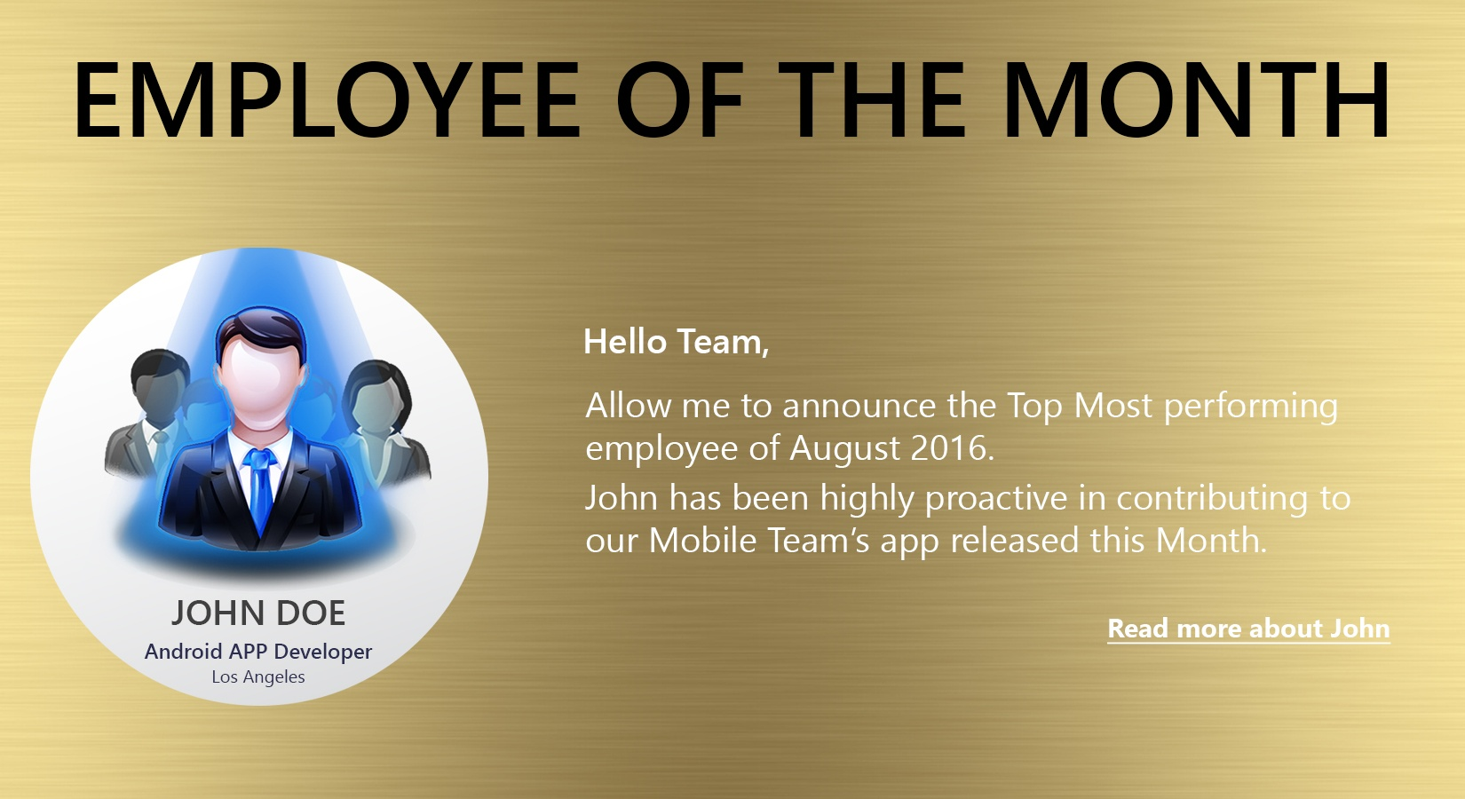 Easy to create Employee Of Month or Employee Spotlight sections